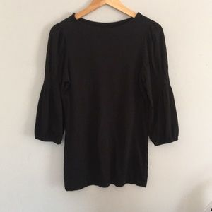 Theory Black 3/4 Sleeve Scoop Neck Blouse